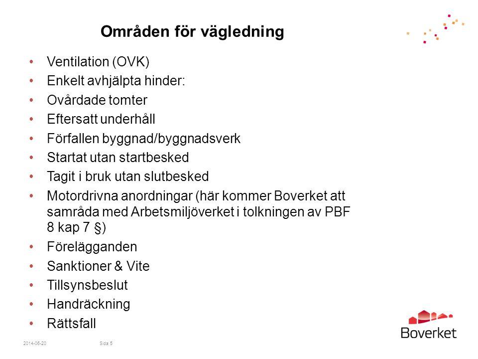 Områden för vägledning •Ventilation (OVK) •Enkelt avhjälpta hinder: •Ovårdade tomter •Eftersatt underhåll •Förfallen byggnad/byggnadsverk •Startat uta
