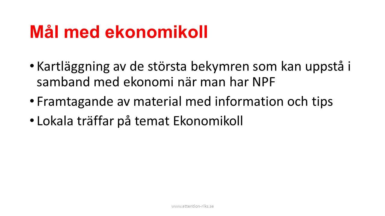 Mål med ekonomikoll • Kartläggning av de största bekymren som kan uppstå i samband med ekonomi när man har NPF • Framtagande av material med informati