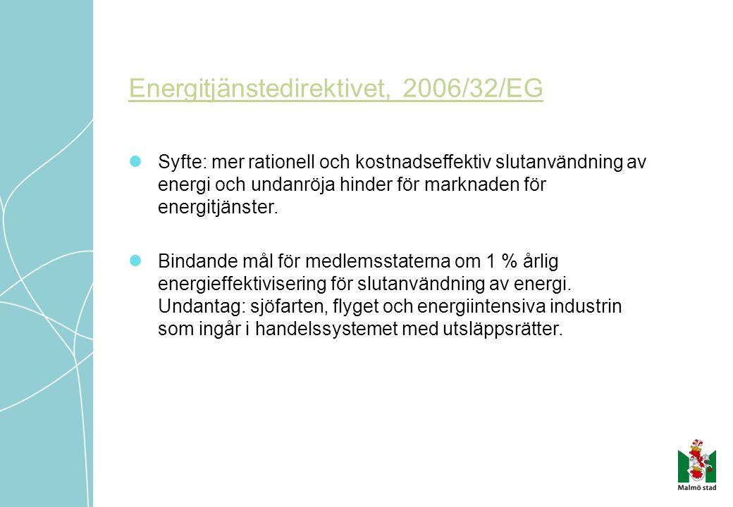 Energitjänstedirektivet, 2006/32/EG  Syfte: mer rationell och kostnadseffektiv slutanvändning av energi och undanröja hinder för marknaden för energitjänster.