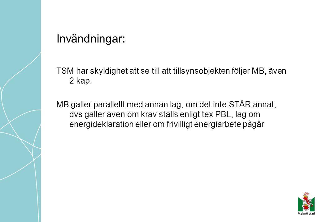 Invändningar: TSM har skyldighet att se till att tillsynsobjekten följer MB, även 2 kap.