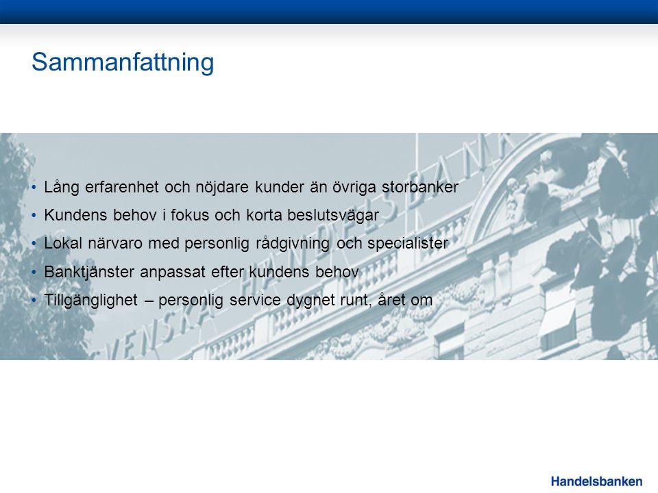 Sammanfattning •Lång erfarenhet och nöjdare kunder än övriga storbanker •Kundens behov i fokus och korta beslutsvägar •Lokal närvaro med personlig råd