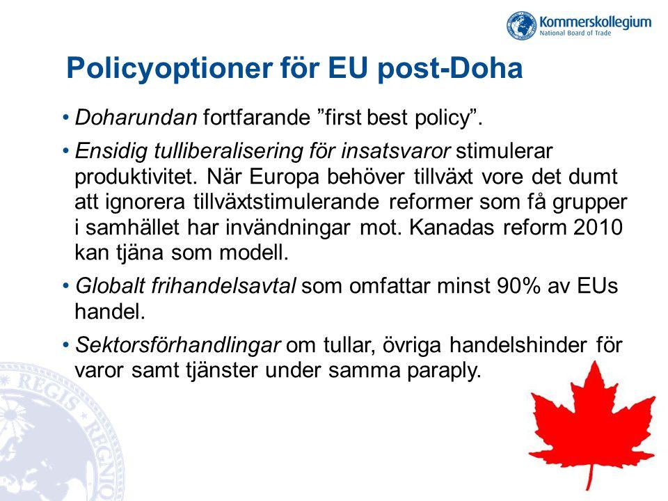 """Policyoptioner för EU post-Doha •Doharundan fortfarande """"first best policy"""". •Ensidig tulliberalisering för insatsvaror stimulerar produktivitet. När"""
