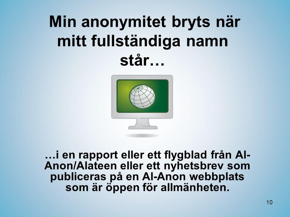 10 Min anonymitet bryts när mitt fullständiga namn står… …i en rapport eller ett flygblad från Al- Anon/Alateen eller ett nyhetsbrev som publiceras på en Al-Anon webbplats som är öppen för allmänheten.