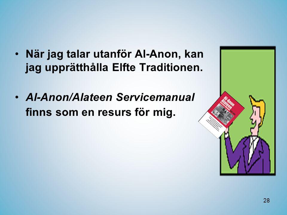 28 •När jag talar utanför Al-Anon, kan jag upprätthålla Elfte Traditionen.