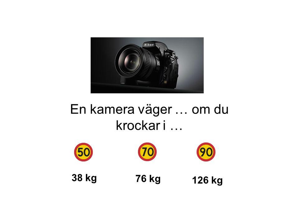En kamera väger … om du krockar i … 38 kg 76 kg 126 kg
