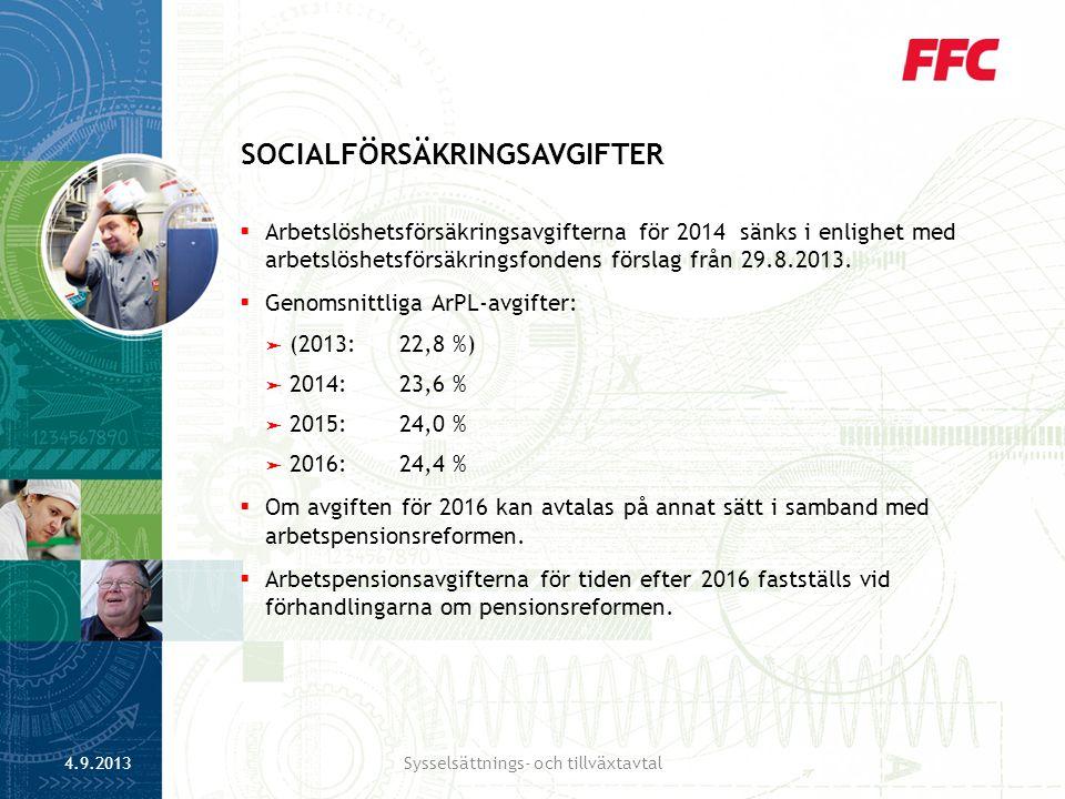  Arbetslöshetsförsäkringsavgifterna för 2014 sänks i enlighet med arbetslöshetsförsäkringsfondens förslag från 29.8.2013.