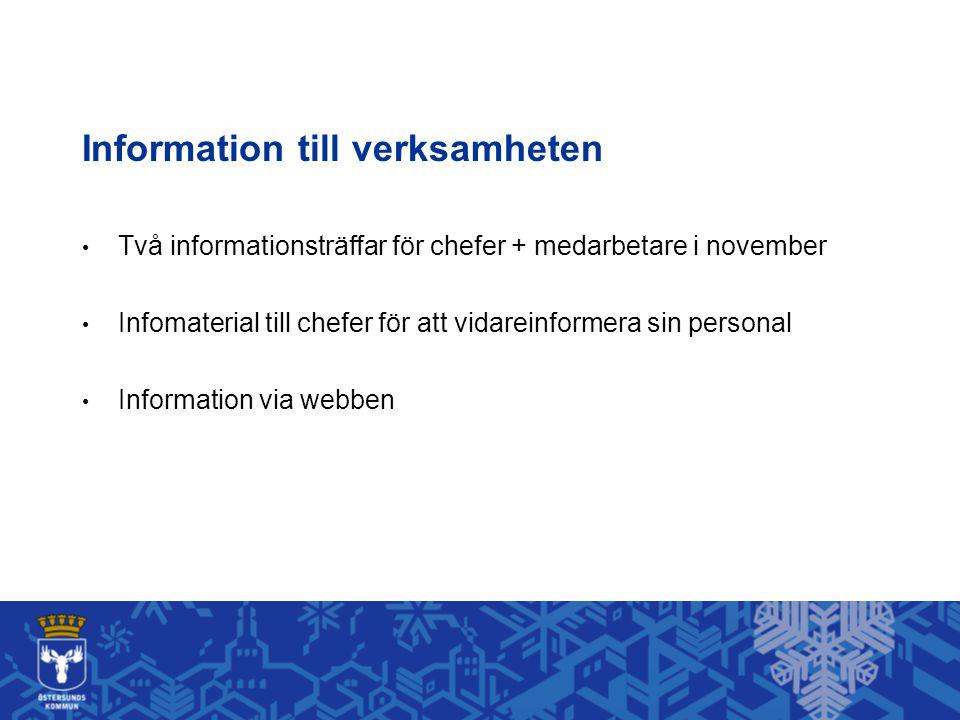 Information till verksamheten • Två informationsträffar för chefer + medarbetare i november • Infomaterial till chefer för att vidareinformera sin personal • Information via webben