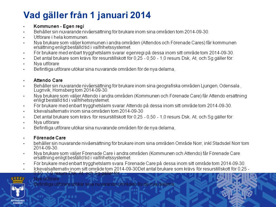 Vad gäller från 1 januari 2014 • Kommunen - Egen regi • Behåller sin nuvarande nivåersättning för brukare inom sina områden tom 2014-09-30.