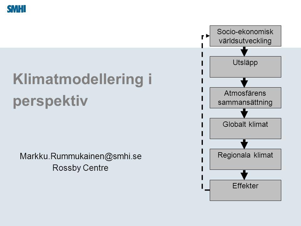 Klimatmodellering i perspektiv Markku.Rummukainen@smhi.se Rossby Centre Socio-ekonomisk världsutveckling Utsläpp Atmosfärens sammansättning Globalt kl