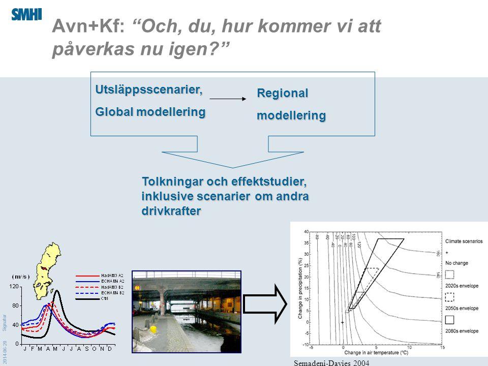 """2014-06-20 Signatur Regionalmodellering Utsläppsscenarier, Global modellering Avn+Kf: """"Och, du, hur kommer vi att påverkas nu igen?"""" Tolkningar och ef"""