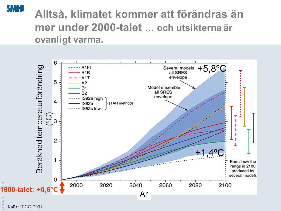 2014-06-20 Signatur Källa: IPCC, 2001 Alltså, klimatet kommer att förändras än mer under 2000-talet … och utsikterna är ovanligt varma. Beräknad tempe