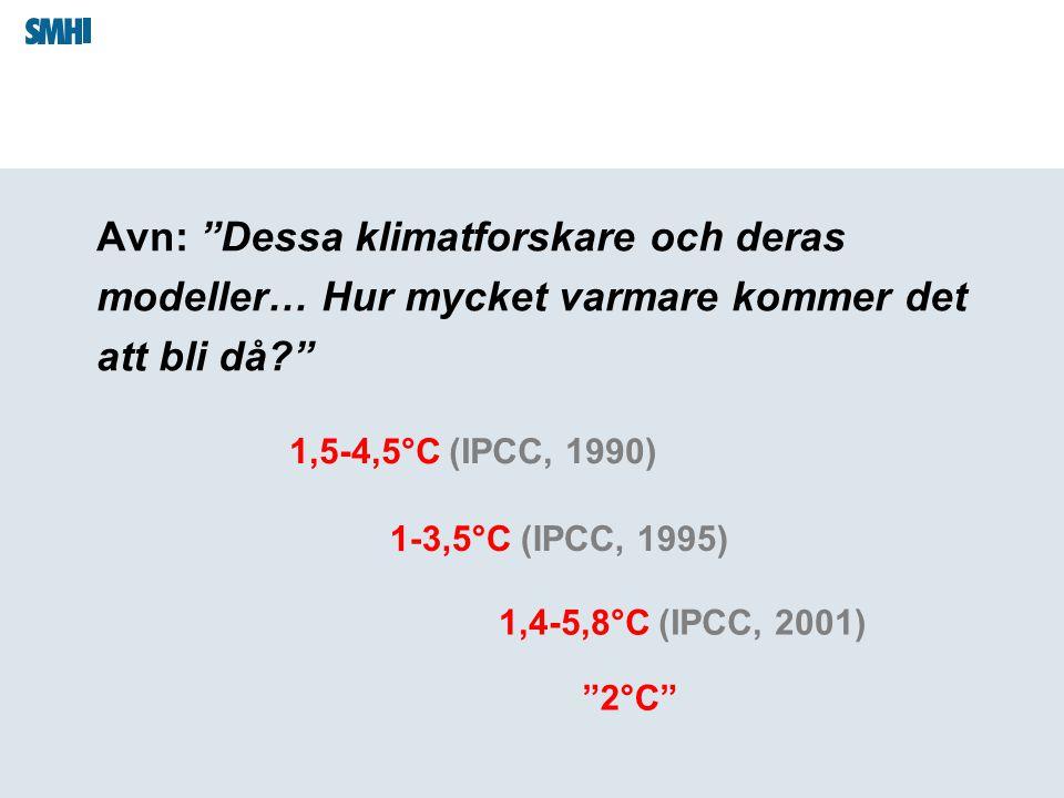 """Avn: """"Dessa klimatforskare och deras modeller… Hur mycket varmare kommer det att bli då?"""" 1,5-4,5°C (IPCC, 1990) 1-3,5°C (IPCC, 1995) """"2°C"""" 1,4-5,8°C"""