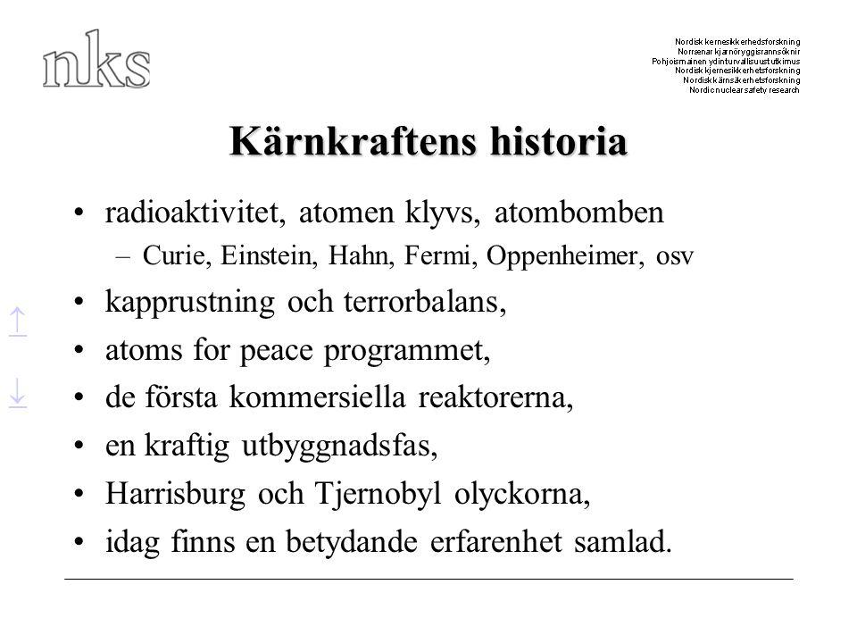 Kärnkraftens historia •radioaktivitet, atomen klyvs, atombomben –Curie, Einstein, Hahn, Fermi, Oppenheimer, osv •kapprustning och terrorbalans, •atoms