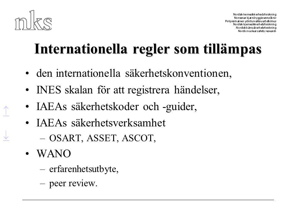 Internationella regler som tillämpas •den internationella säkerhetskonventionen, •INES skalan för att registrera händelser, •IAEAs säkerhetskoder och