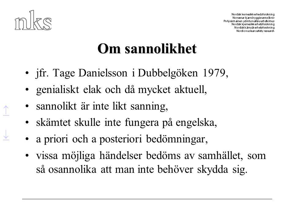 Om sannolikhet •jfr. Tage Danielsson i Dubbelgöken 1979, •genialiskt elak och då mycket aktuell, •sannolikt är inte likt sanning, •skämtet skulle inte
