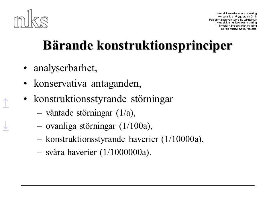 Bärande konstruktionsprinciper •analyserbarhet, •konservativa antaganden, •konstruktionsstyrande störningar –väntade störningar (1/a), –ovanliga störn