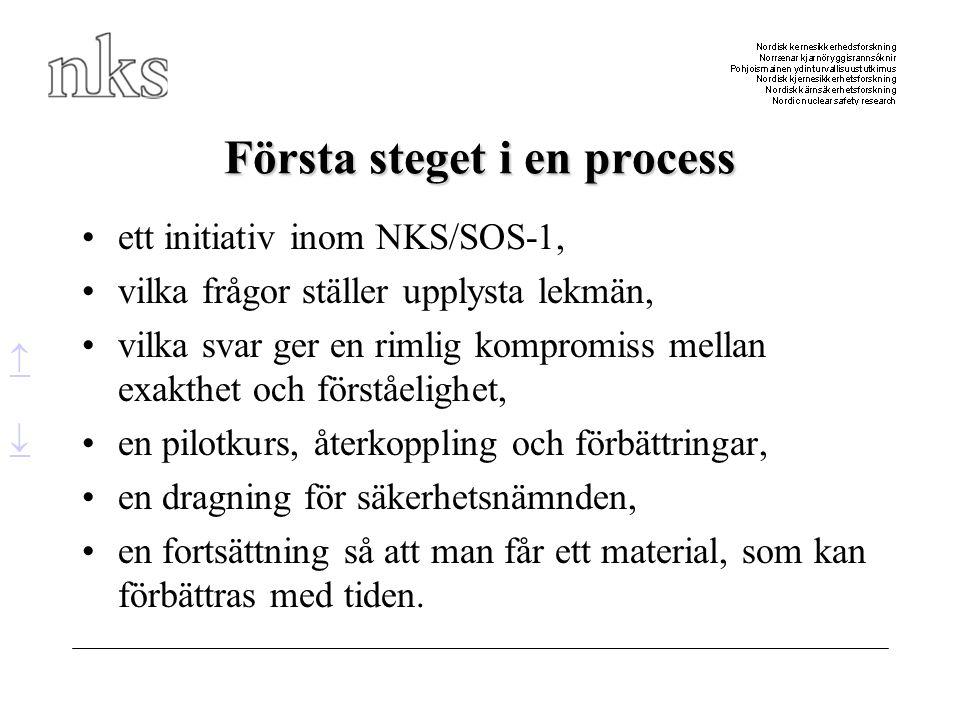 Första steget i en process •ett initiativ inom NKS/SOS-1, •vilka frågor ställer upplysta lekmän, •vilka svar ger en rimlig kompromiss mellan exakthet