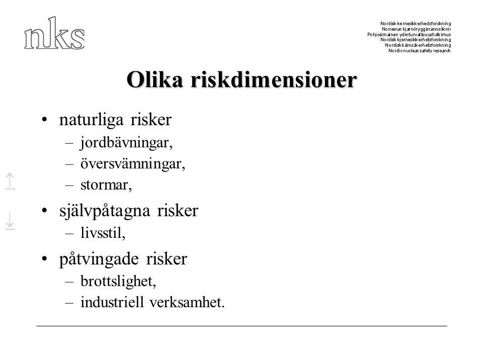 Olika riskdimensioner •naturliga risker –jordbävningar, –översvämningar, –stormar, •självpåtagna risker –livsstil, •påtvingade risker –brottslighet, –
