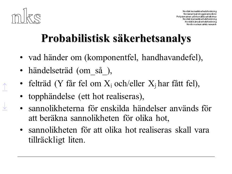 Probabilistisk säkerhetsanalys •vad händer om (komponentfel, handhavandefel), •händelseträd (om_så_), •felträd (Y får fel om X i och/eller X j har fåt