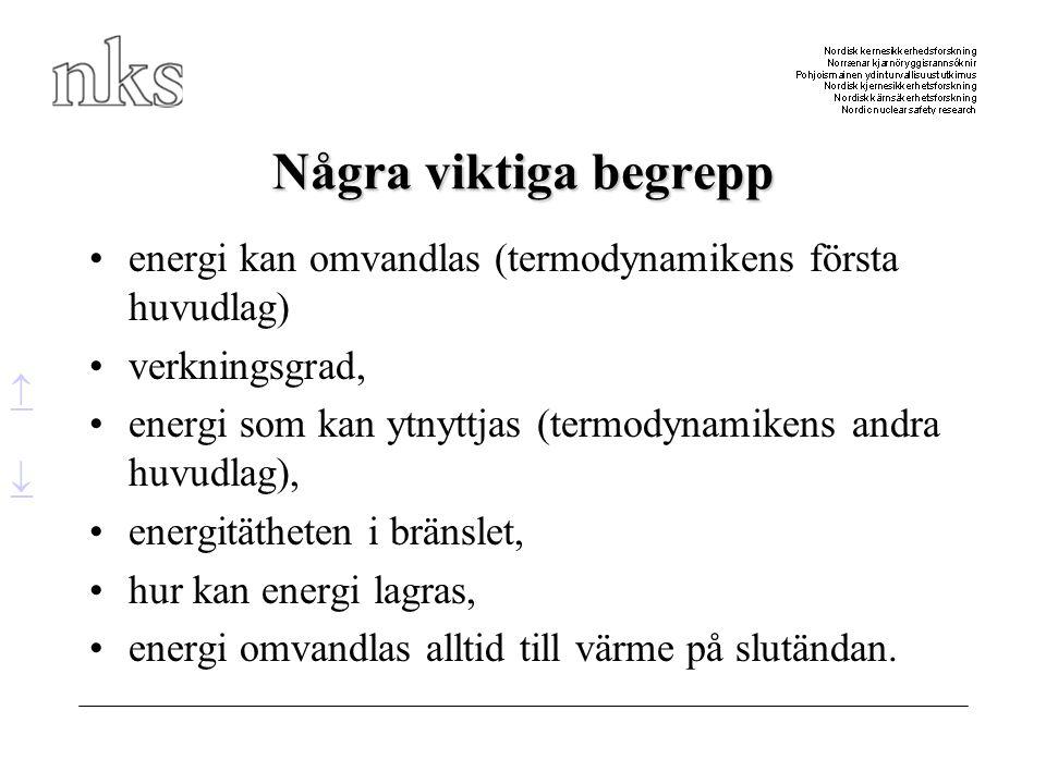 Några viktiga begrepp •energi kan omvandlas (termodynamikens första huvudlag) •verkningsgrad, •energi som kan ytnyttjas (termodynamikens andra huvudla