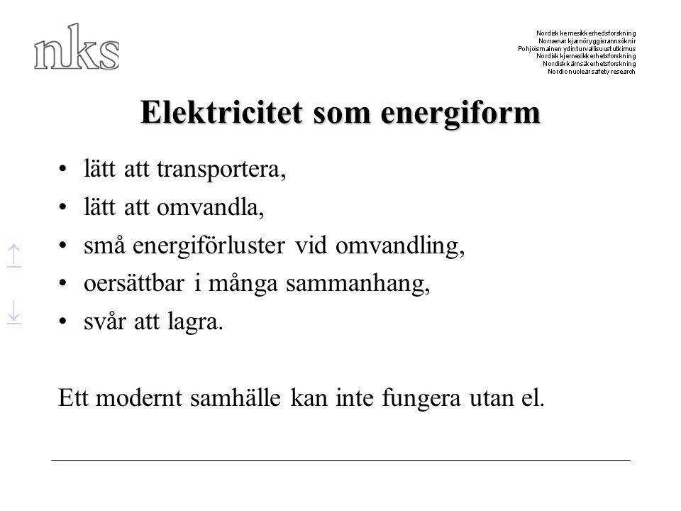 Elektricitet som energiform •lätt att transportera, •lätt att omvandla, •små energiförluster vid omvandling, •oersättbar i många sammanhang, •svår att