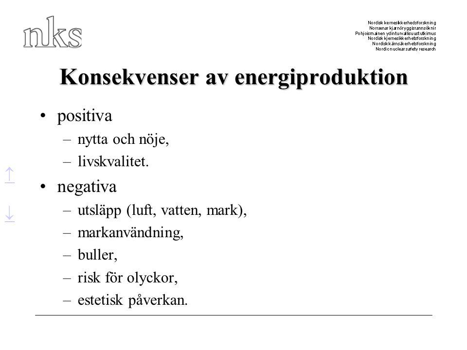 Konsekvenser av energiproduktion •positiva –nytta och nöje, –livskvalitet. •negativa –utsläpp (luft, vatten, mark), –markanvändning, –buller, –risk fö