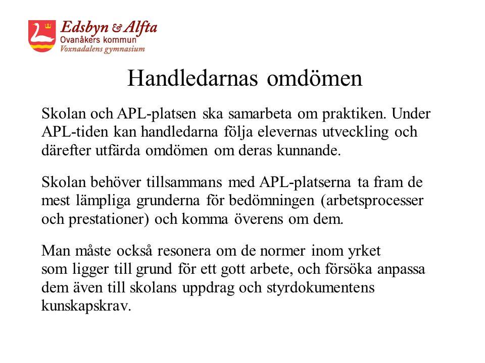 Handledarnas omdömen Skolan och APL-platsen ska samarbeta om praktiken.