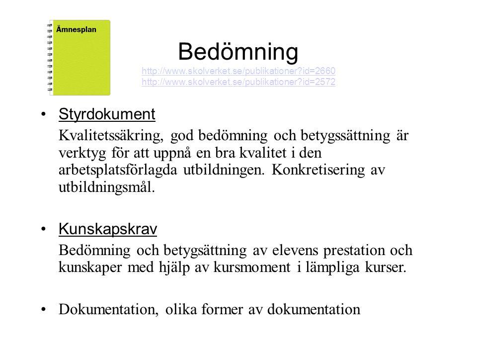Bedömning http://www.skolverket.se/publikationer?id=2660 http://www.skolverket.se/publikationer?id=2660 http://www.skolverket.se/publikationer?id=2572 •Styrdokument Kvalitetssäkring, god bedömning och betygssättning är verktyg för att uppnå en bra kvalitet i den arbetsplatsförlagda utbildningen.