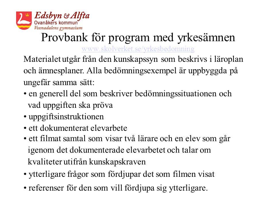 Provbank för program med yrkesämnen www.skolverket.se/yrkesbedomning www.skolverket.se/yrkesbedomning • referenser för den som vill fördjupa sig ytterligare.