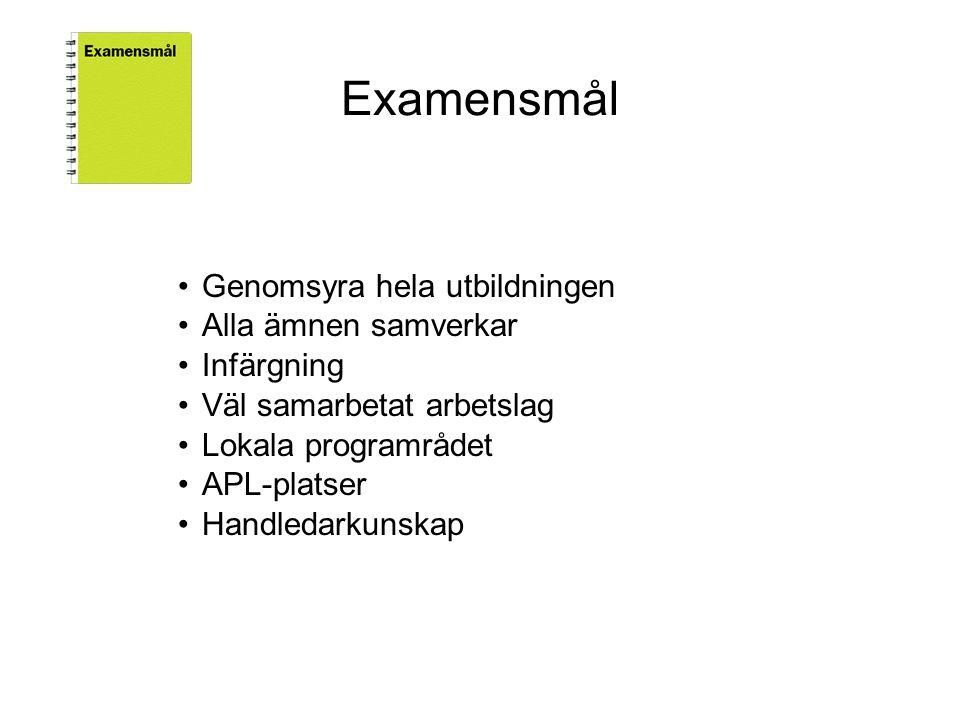 Examensmål •Genomsyra hela utbildningen •Alla ämnen samverkar •Infärgning •Väl samarbetat arbetslag •Lokala programrådet •APL-platser •Handledarkunskap