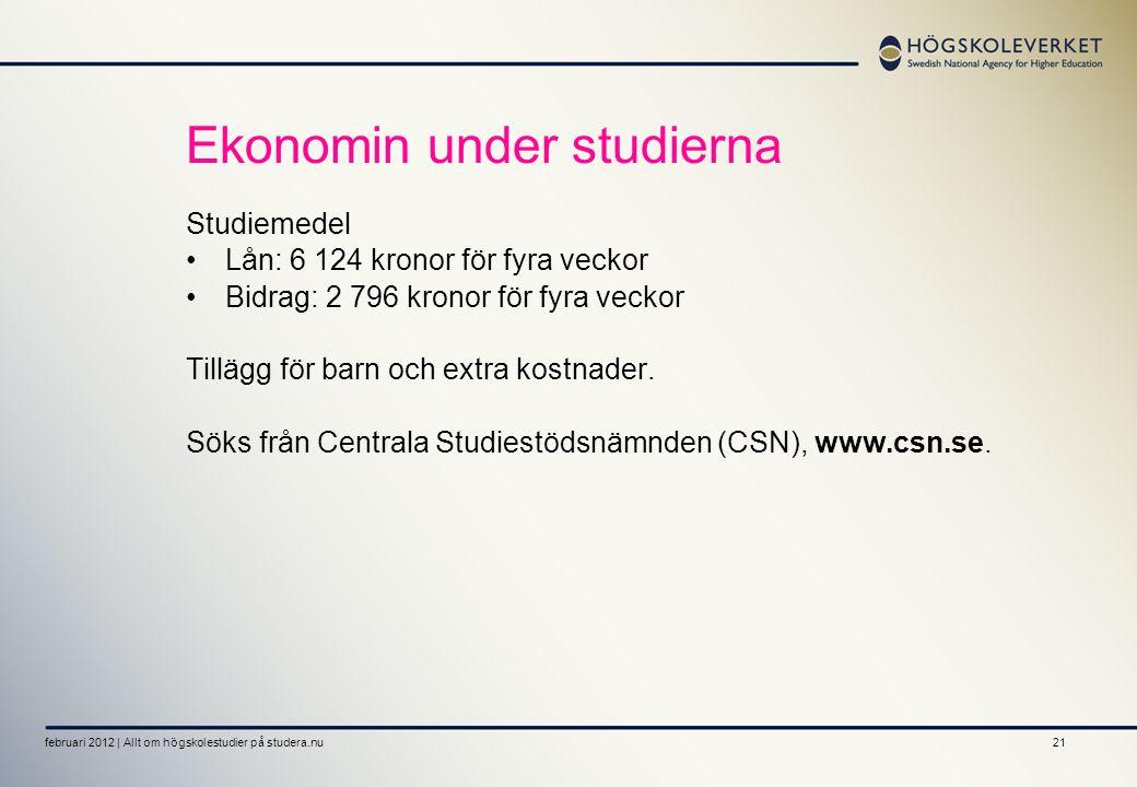 21 Ekonomin under studierna Studiemedel •Lån: 6 124 kronor för fyra veckor •Bidrag: 2 796 kronor för fyra veckor Tillägg för barn och extra kostnader.