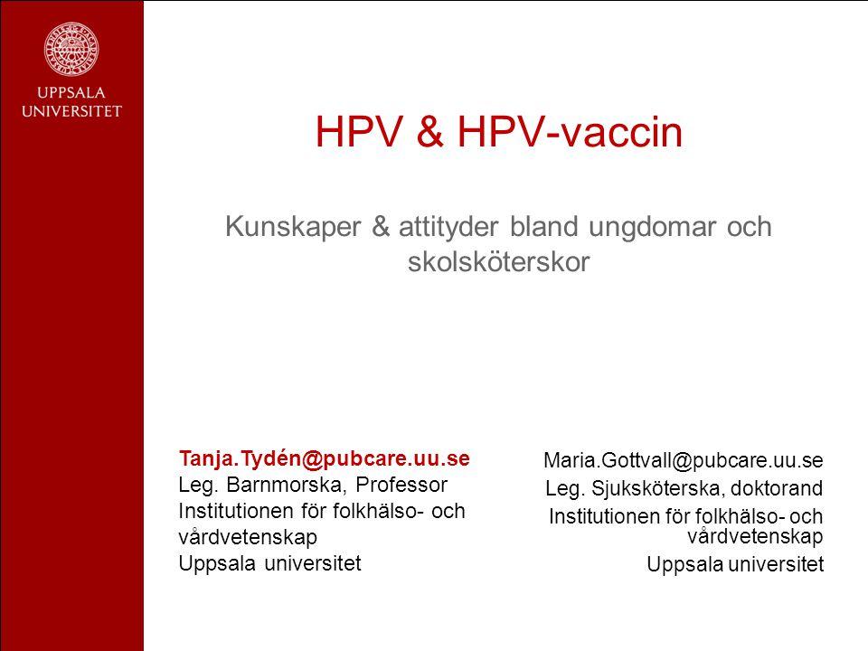 HPV & HPV-vaccin Kunskaper & attityder bland ungdomar och skolsköterskor Maria.Gottvall@pubcare.uu.se Leg. Sjuksköterska, doktorand Institutionen för