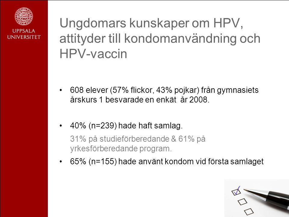 Ungdomars kunskaper om HPV, attityder till kondomanvändning och HPV-vaccin •608 elever (57% flickor, 43% pojkar) från gymnasiets årskurs 1 besvarade e