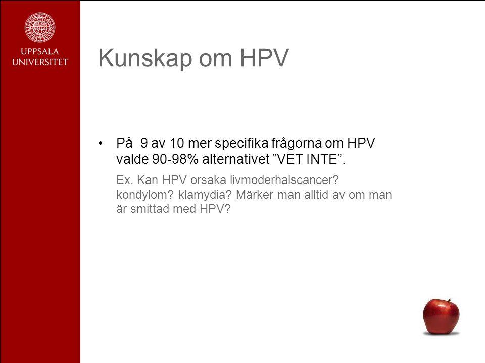 """Kunskap om HPV •På 9 av 10 mer specifika frågorna om HPV valde 90-98% alternativet """"VET INTE"""". Ex. Kan HPV orsaka livmoderhalscancer? kondylom? klamyd"""