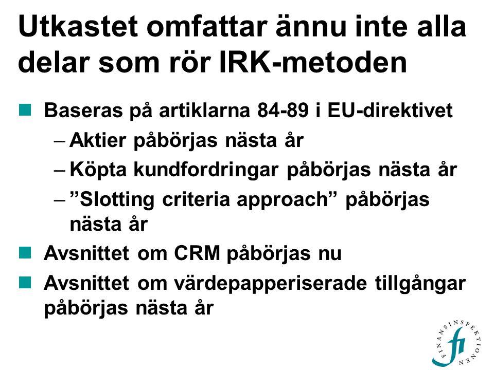 Utkastet omfattar ännu inte alla delar som rör IRK-metoden  Baseras på artiklarna 84-89 i EU-direktivet –Aktier påbörjas nästa år –Köpta kundfordringar påbörjas nästa år – Slotting criteria approach påbörjas nästa år  Avsnittet om CRM påbörjas nu  Avsnittet om värdepapperiserade tillgångar påbörjas nästa år