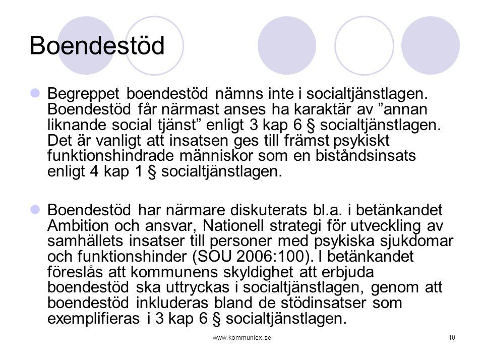 """www.kommunlex.se10 Boendestöd  Begreppet boendestöd nämns inte i socialtjänstlagen. Boendestöd får närmast anses ha karaktär av """"annan liknande socia"""