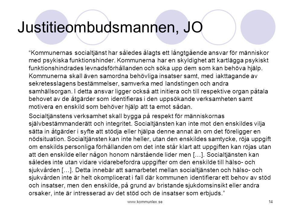 """www.kommunlex.se14 Justitieombudsmannen, JO """"Kommunernas socialtjänst har således ålagts ett långtgående ansvar för människor med psykiska funktionshi"""