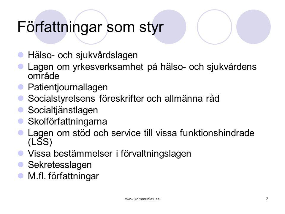www.kommunlex.se2 Författningar som styr  Hälso- och sjukvårdslagen  Lagen om yrkesverksamhet på hälso- och sjukvårdens område  Patientjournallagen