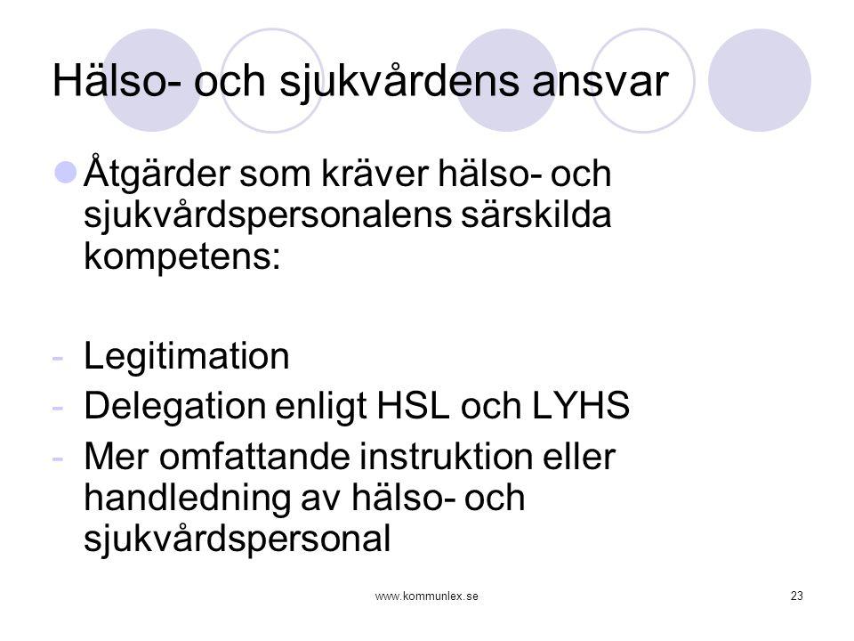 www.kommunlex.se23 Hälso- och sjukvårdens ansvar  Åtgärder som kräver hälso- och sjukvårdspersonalens särskilda kompetens: -Legitimation -Delegation