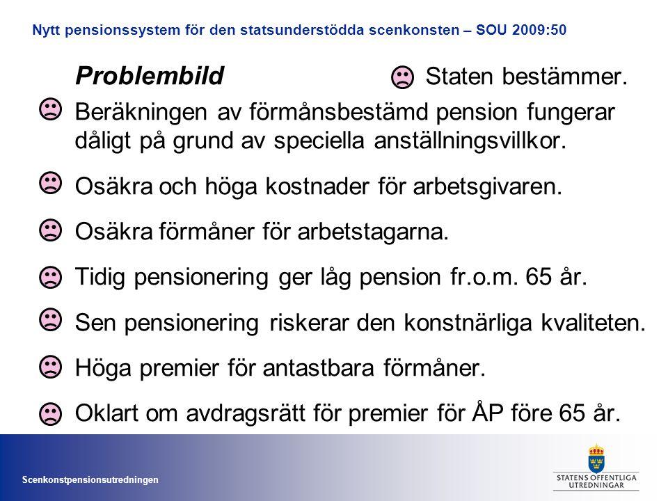 Scenkonstpensionsutredningen Problembild Staten bestämmer. Beräkningen av förmånsbestämd pension fungerar dåligt på grund av speciella anställningsvil