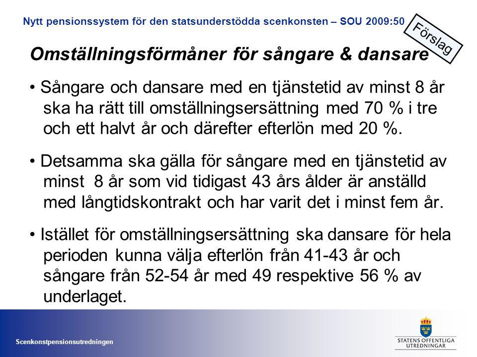 Scenkonstpensionsutredningen Omställningsförmåner för sångare & dansare • Sångare och dansare med en tjänstetid av minst 8 år ska ha rätt till omställningsersättning med 70 % i tre och ett halvt år och därefter efterlön med 20 %.