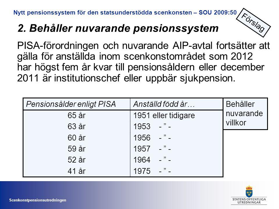 Scenkonstpensionsutredningen 2. Behåller nuvarande pensionssystem PISA-förordningen och nuvarande AIP-avtal fortsätter att gälla för anställda inom sc