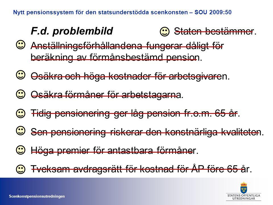 Scenkonstpensionsutredningen F.d.problembild Staten bestämmer.