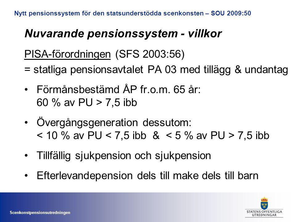 Scenkonstpensionsutredningen Nytt pensionssystem för den statsunderstödda scenkonsten – SOU 2009:50 Nuvarande pensionssystem - villkor PISA-förordningen (SFS 2003:56) = statliga pensionsavtalet PA 03 med tillägg & undantag •Förmånsbestämd ÅP fr.o.m.