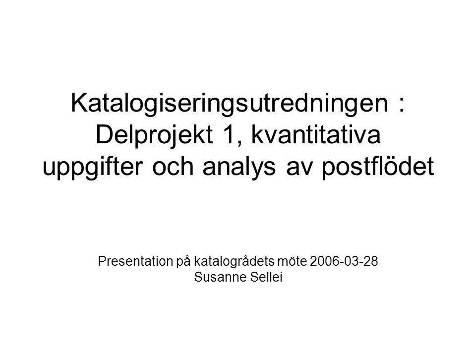 Katalogiseringsutredningen : Delprojekt 1, kvantitativa uppgifter och analys av postflödet Presentation på katalogrådets möte 2006-03-28 Susanne Sellei