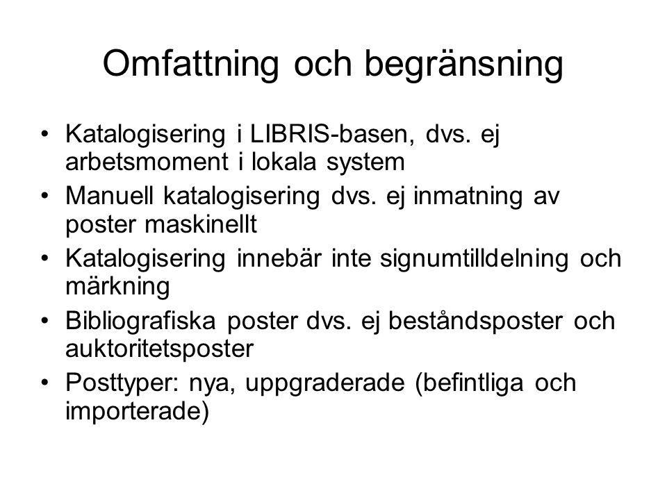 Omfattning och begränsning •Katalogisering i LIBRIS-basen, dvs.