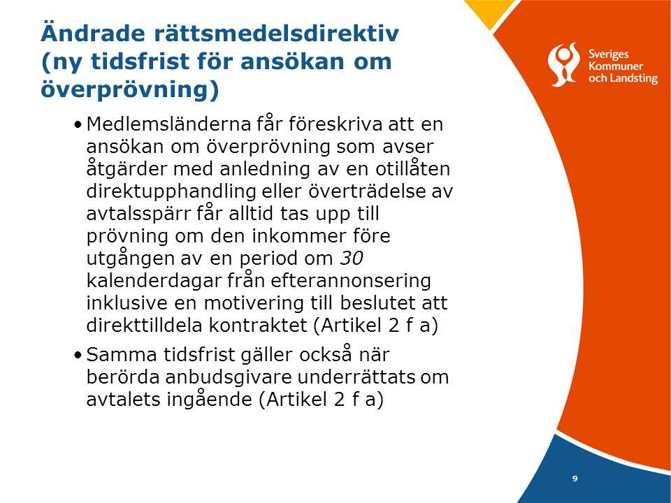 9 Ändrade rättsmedelsdirektiv (ny tidsfrist för ansökan om överprövning) •Medlemsländerna får föreskriva att en ansökan om överprövning som avser åtgä