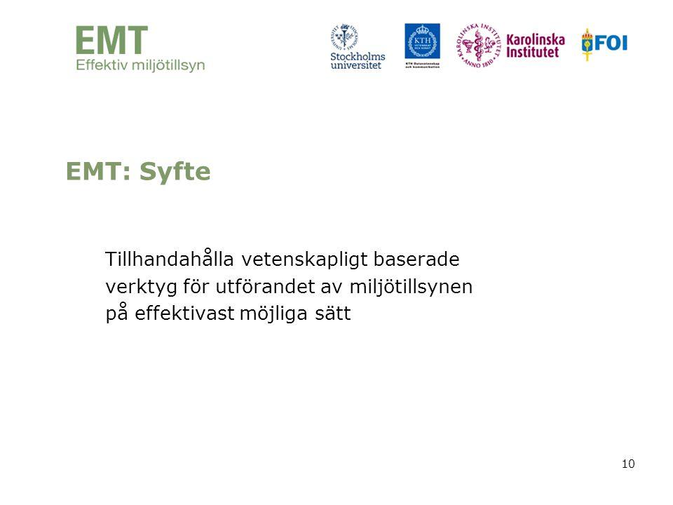 10 Tillhandahålla vetenskapligt baserade verktyg för utförandet av miljötillsynen på effektivast möjliga sätt EMT: Syfte