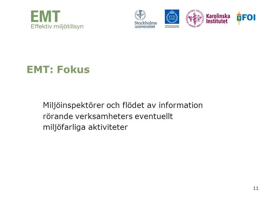 11 Miljöinspektörer och flödet av information rörande verksamheters eventuellt miljöfarliga aktiviteter EMT: Fokus