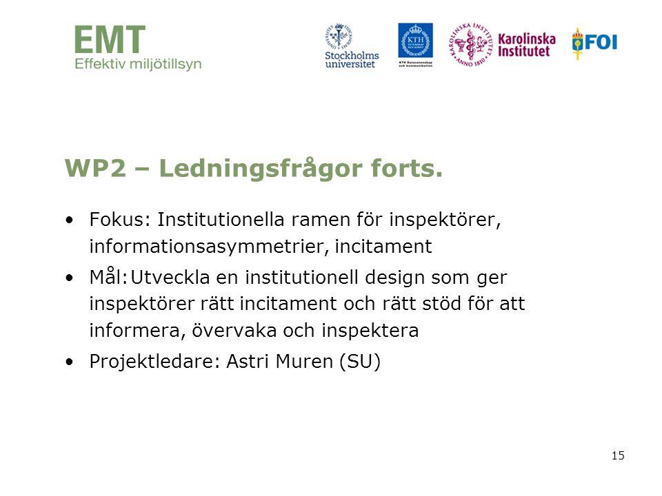 15 WP2 – Ledningsfrågor forts. •Fokus: Institutionella ramen för inspektörer, informationsasymmetrier, incitament •Mål:Utveckla en institutionell desi